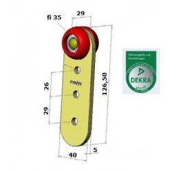 Rolka pojedyncza wózka kłonicy naczepy fi 35 mm, 44-930