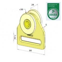 Rolka stalowa  pojedyncza fi 38 mm, 44-047