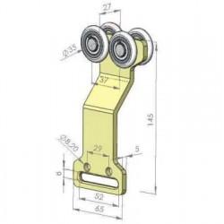 Rolka tandem, podwójnie wygięta fi 35 mm, 44-353