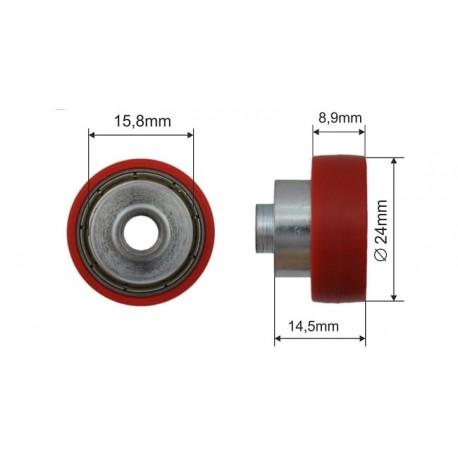 Czerwone łożysko dachu składanego fi 24mm naczepy, 052021